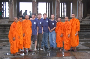 Wright, Peterson, Smith and Augustine with Monks