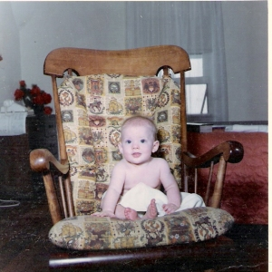 Baby MoSop in her Mama's rocking chair