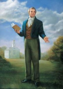 Joseph Smith holding a Book of Mormon in Kirtland, Ohio