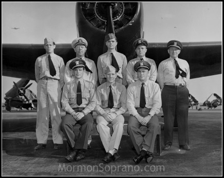 Circa 1948, Berlin Airlift Pilots, Wildwood NJ. My grandfather, then Lt. Dallis J. Christensen is seated, center.