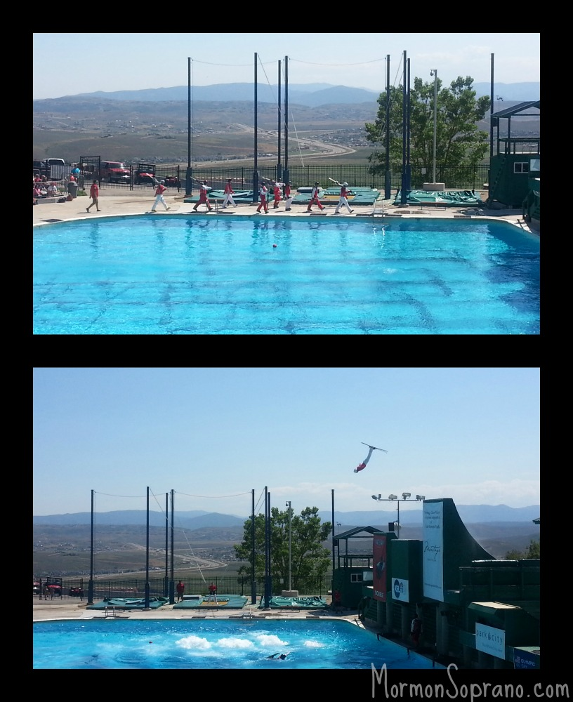 Top: Olympic Aces march in  Bottom: Jumping into the pool bubbles