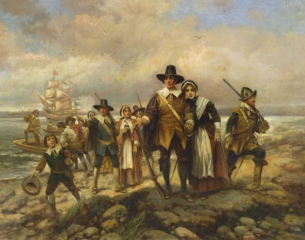 Pilgrims Landing - by Edward Percy Moran, (American artist, 1862-1935)