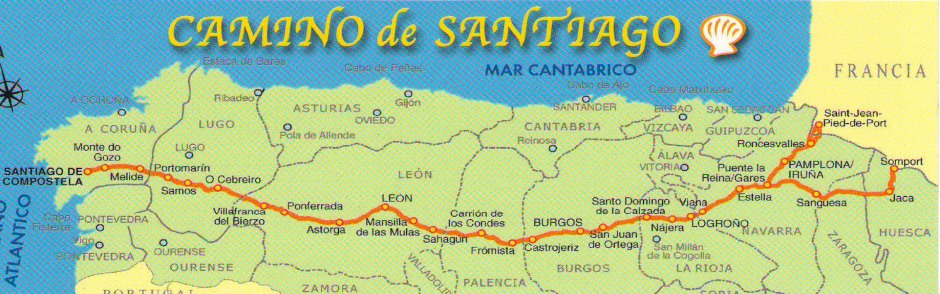 A map of the Camino de Santiago -The Way of St. James, Frances (French route)