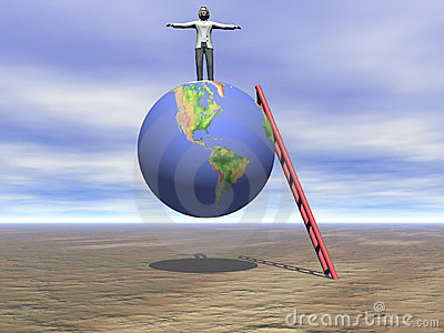 Woman Standing On Top Of The World
