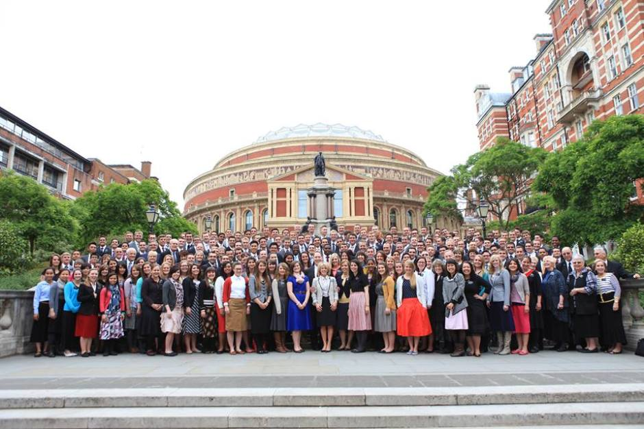 The missionaries of The London England Mission of The Church of Jesus Christ of Latter-day Saints standing in front of ROYAL ALBERT HALL - March 2015. Under the leadership of President David and Sister Holly Jordan.