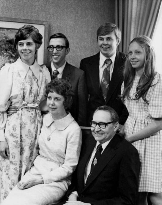 L. Tom Perry and Virginia Clare Lee Perry family photograph, April 6, 1974, the day Elder Perry was sustained as a member of the Quorum of the Twelve. @DeseretBook