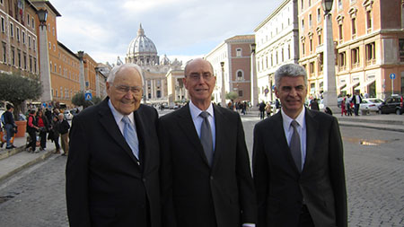 NOVEMBER 17, 2014 - at the Vatican, Rome by invitation to the Pope's International Interreligious Colloquium on the Complementarity of Man and Woman, - Elder L. Tom Perry, President Henry B. Eyring and Elder Bishop Gérald Caussé