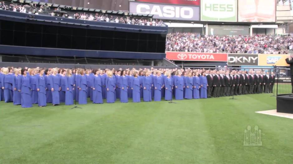 The Mormon Tabernacle Choir performing in Yankee Stadium on July 3, 2015