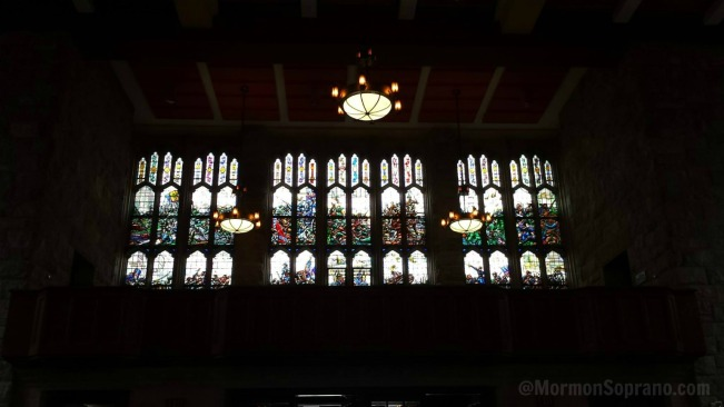 Stained glass windows depicting the life of General George Washington, in the great hall at West Point Academy