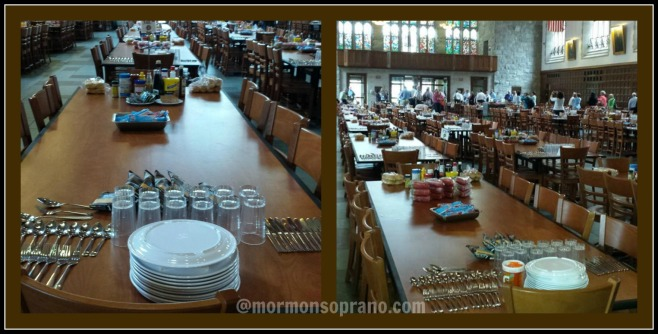 Everything laid out with precision in the dining hall. Cadets eat