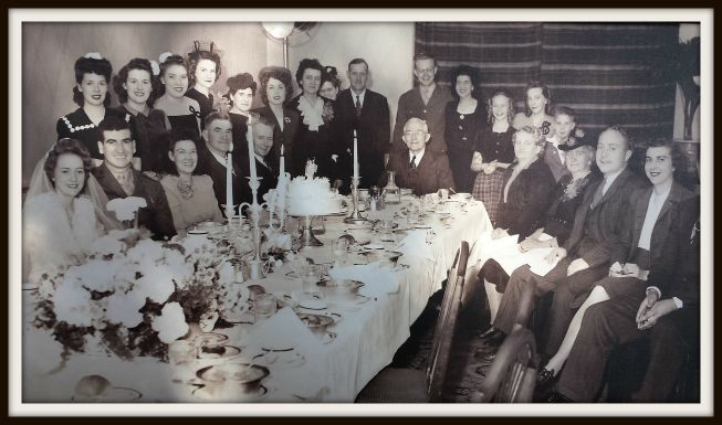Wedding party at the Hotel Utah for Adeline Naomi Kleven and Hale Burt Seely. Bride and Groom are seated far left.