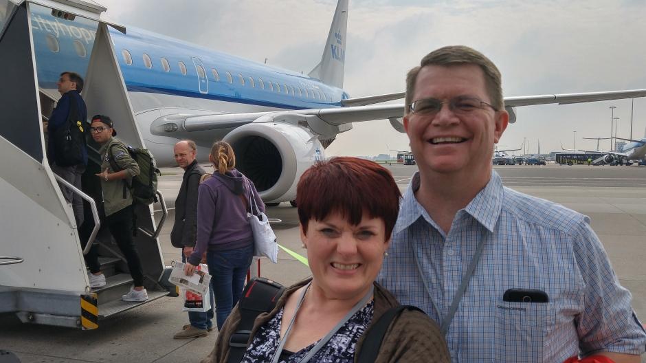 Boarding our final flight to Berlin