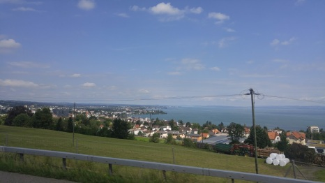Passing through Austria! City Bregen with Lake Constace - the 3rd -largest freshwater lake in Central Europe