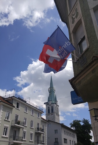 Our first sighting of the Swiss Flag