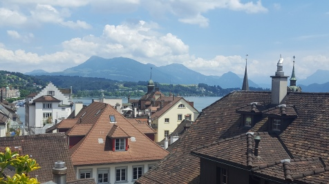 View from a rooftop cafe in Lucerne
