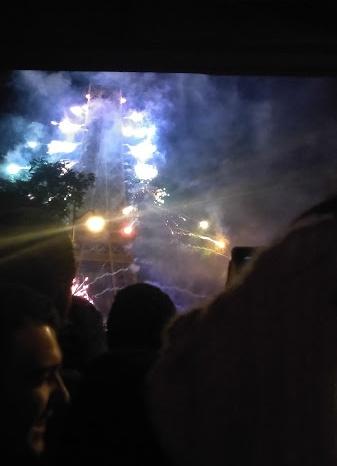 Fireworks seen under the metro tracks