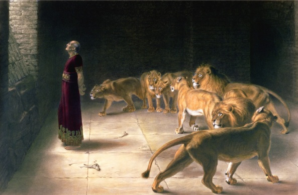 Daniel in the Lions Den, mezzotint by J. B. Pratt, with hand colouring, pub. by Thomas Agnew and Sons, 1892