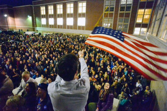 Thousands of people turned out for the democratic caucus at East High School in Denver, Colorado.