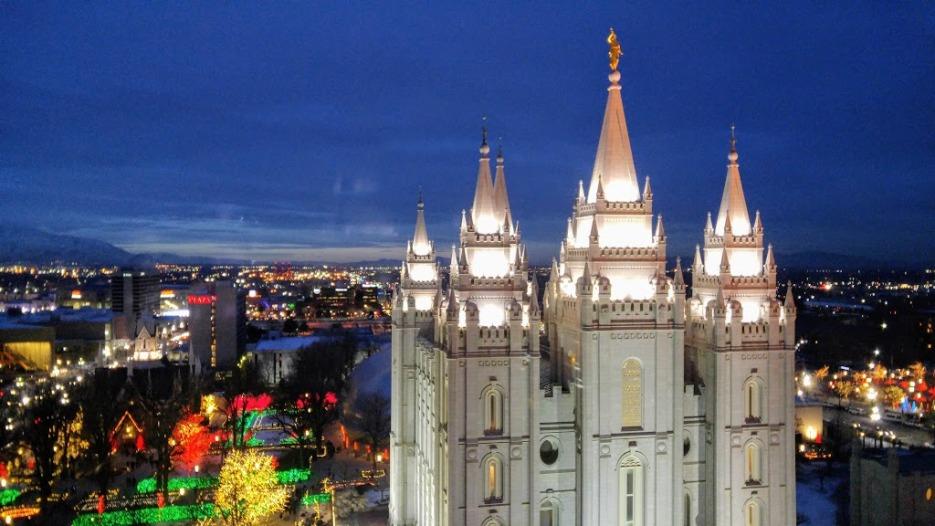 The Salt Lake LDS Temple at Christmas