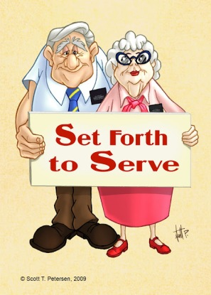 senior couple set forth to serve