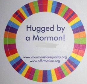 hugged by a mormon sticker
