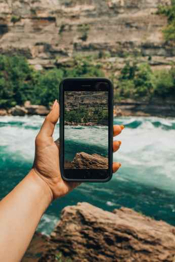 image of river on smartphone
