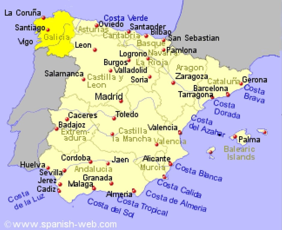 Spain with Galicia Highlighted